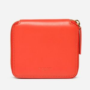 Everlane red square zip leather wallet